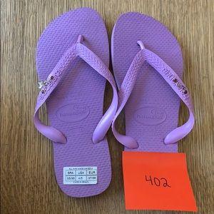 Havaianas, 35-36, purple, wide strap w/jewels, new